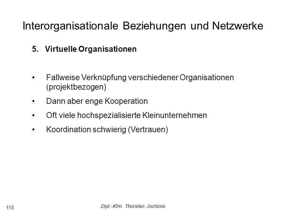 Dipl.-Kfm. Thorsten Jochims 115 Interorganisationale Beziehungen und Netzwerke 5.