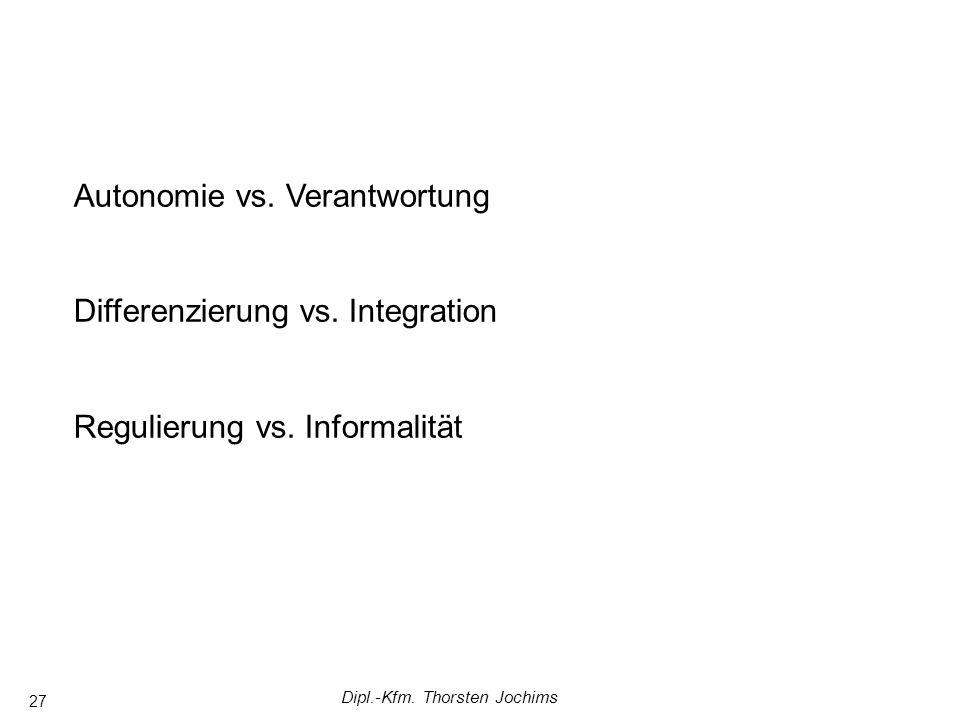 Dipl.-Kfm. Thorsten Jochims 27 Autonomie vs. Verantwortung Differenzierung vs. Integration Regulierung vs. Informalität