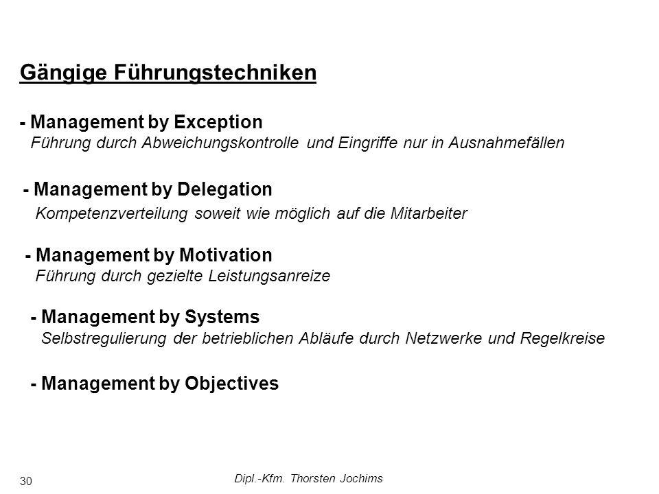 Dipl.-Kfm. Thorsten Jochims 30 Gängige Führungstechniken - Management by Exception - Management by Delegation - Management by Motivation - Management