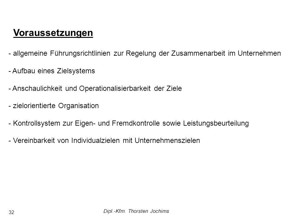 Dipl.-Kfm. Thorsten Jochims 32 Voraussetzungen - allgemeine Führungsrichtlinien zur Regelung der Zusammenarbeit im Unternehmen - Aufbau eines Zielsyst