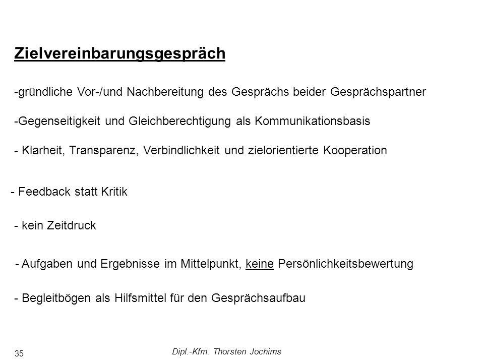 Dipl.-Kfm. Thorsten Jochims 35 Zielvereinbarungsgespräch -gründliche Vor-/und Nachbereitung des Gesprächs beider Gesprächspartner -Gegenseitigkeit und