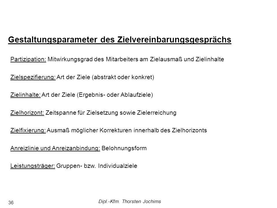 Dipl.-Kfm. Thorsten Jochims 36 Gestaltungsparameter des Zielvereinbarungsgesprächs Partizipation: Mitwirkungsgrad des Mitarbeiters am Zielausmaß und Z