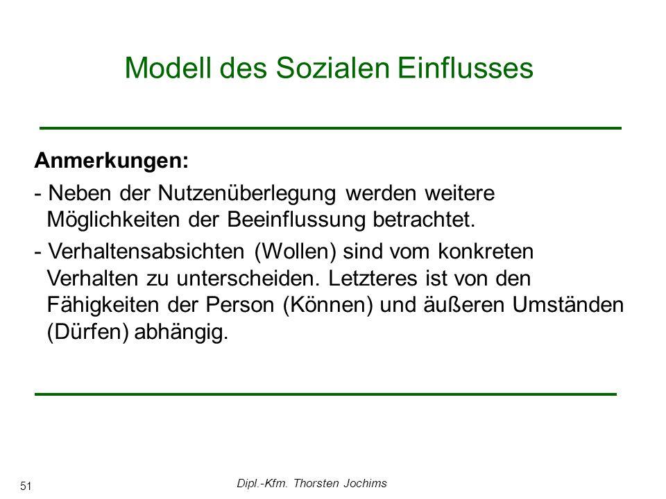 Dipl.-Kfm. Thorsten Jochims 51 Modell des Sozialen Einflusses 0 Anmerkungen: - Neben der Nutzenüberlegung werden weitere Möglichkeiten der Beeinflussu