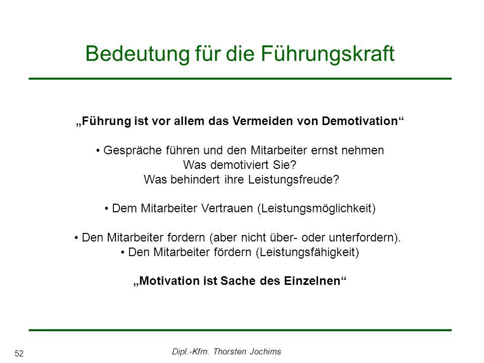 Dipl.-Kfm. Thorsten Jochims 52 Bedeutung für die Führungskraft Führung ist vor allem das Vermeiden von Demotivation Gespräche führen und den Mitarbeit