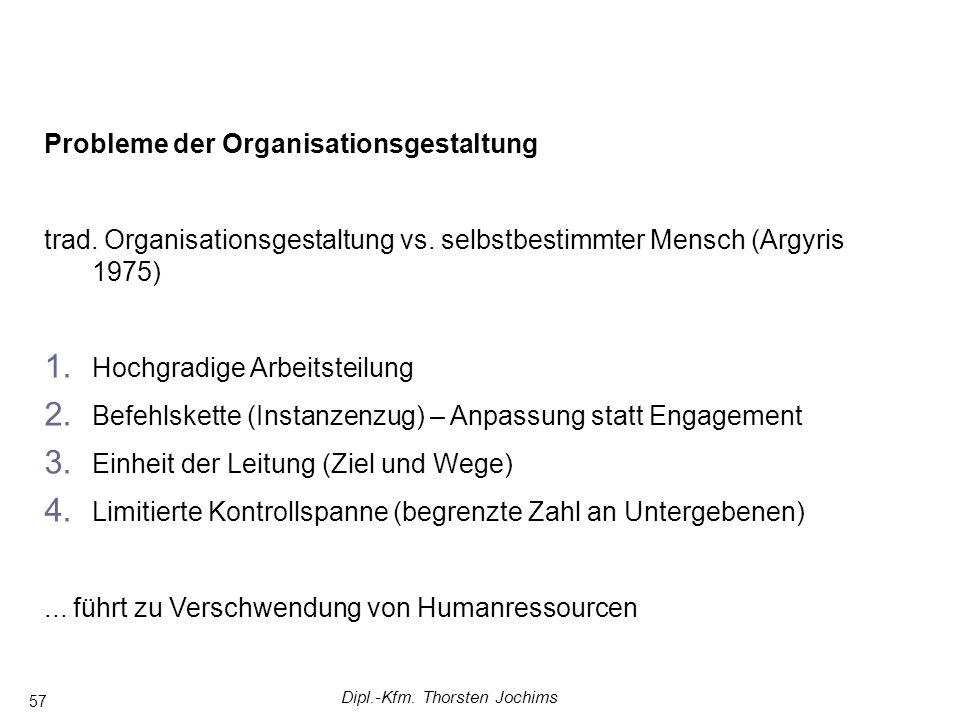 Dipl.-Kfm. Thorsten Jochims 57 Probleme der Organisationsgestaltung trad. Organisationsgestaltung vs. selbstbestimmter Mensch (Argyris 1975) 1. Hochgr