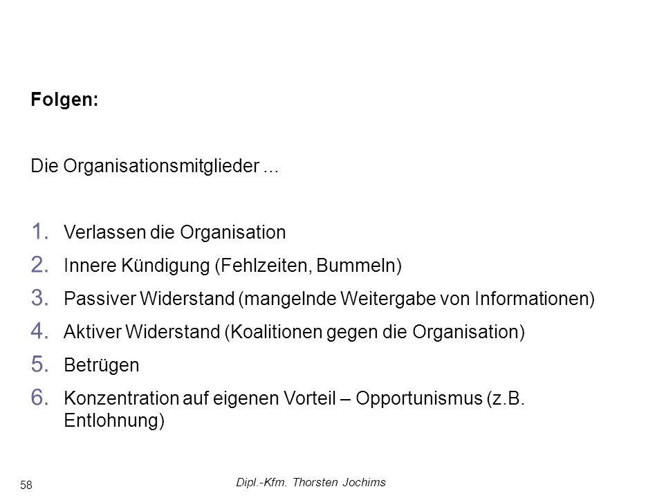 Dipl.-Kfm. Thorsten Jochims 58 Folgen: Die Organisationsmitglieder... 1. Verlassen die Organisation 2. Innere Kündigung (Fehlzeiten, Bummeln) 3. Passi