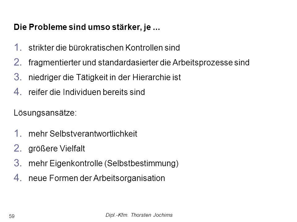 Dipl.-Kfm. Thorsten Jochims 59 Die Probleme sind umso stärker, je...