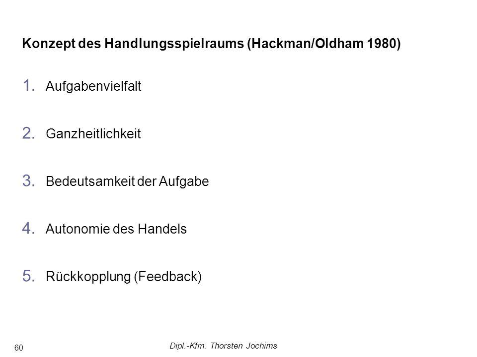 Dipl.-Kfm. Thorsten Jochims 60 Konzept des Handlungsspielraums (Hackman/Oldham 1980) 1.