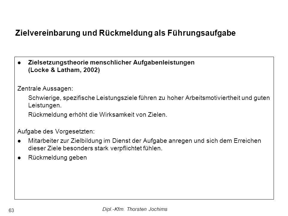 Dipl.-Kfm. Thorsten Jochims 63 Zielvereinbarung und Rückmeldung als Führungsaufgabe Zielsetzungstheorie menschlicher Aufgabenleistungen (Locke & Latha