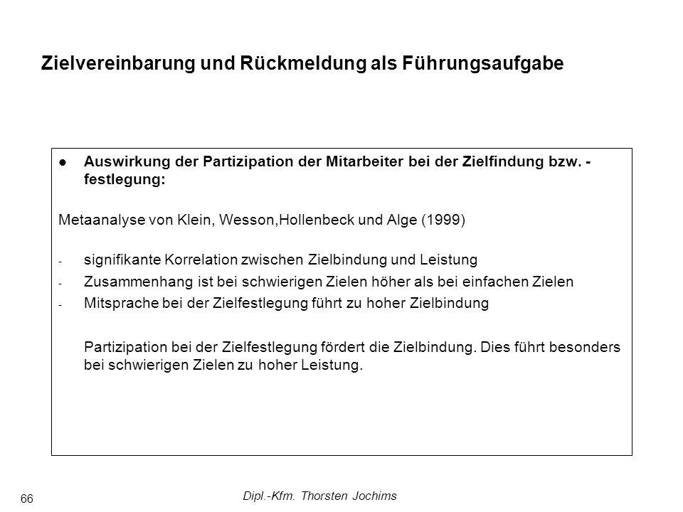 Dipl.-Kfm. Thorsten Jochims 66 Auswirkung der Partizipation der Mitarbeiter bei der Zielfindung bzw. - festlegung: Metaanalyse von Klein, Wesson,Holle