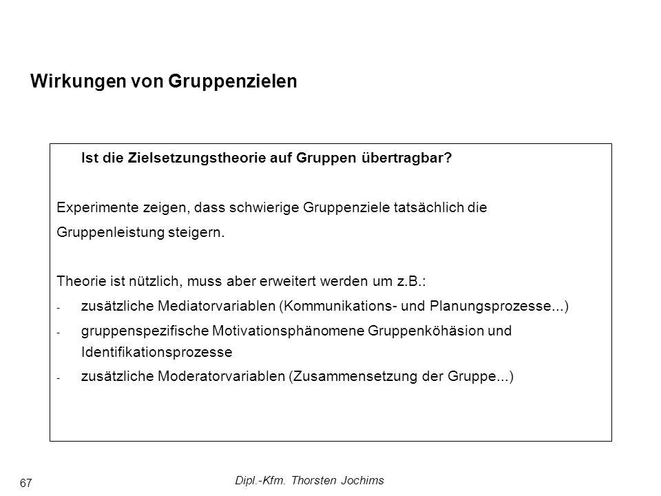 Dipl.-Kfm. Thorsten Jochims 67 Wirkungen von Gruppenzielen Ist die Zielsetzungstheorie auf Gruppen übertragbar? Experimente zeigen, dass schwierige Gr