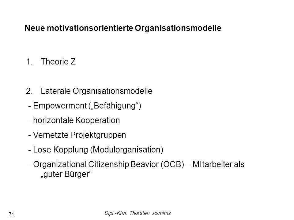 Dipl.-Kfm. Thorsten Jochims 71 Komplexere Managementsysteme in Arbeitsgruppen FührungstheorienAnsätze mit Fokus auf Arbeitsgruppen Neue motivationsori