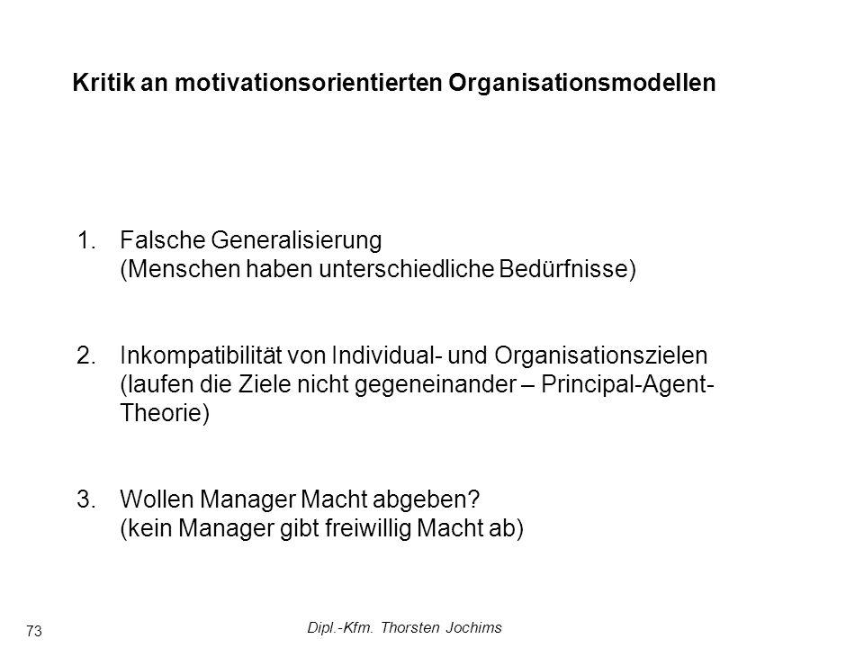 Dipl.-Kfm. Thorsten Jochims 73 Komplexere Managementsysteme in Arbeitsgruppen FührungstheorienAnsätze mit Fokus auf Arbeitsgruppen Kritik an motivatio
