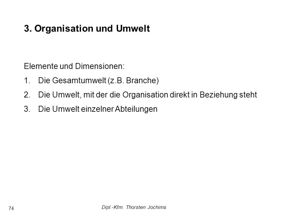Dipl.-Kfm. Thorsten Jochims 74 Komplexere Managementsysteme in Arbeitsgruppen FührungstheorienAnsätze mit Fokus auf Arbeitsgruppen 3. Organisation und