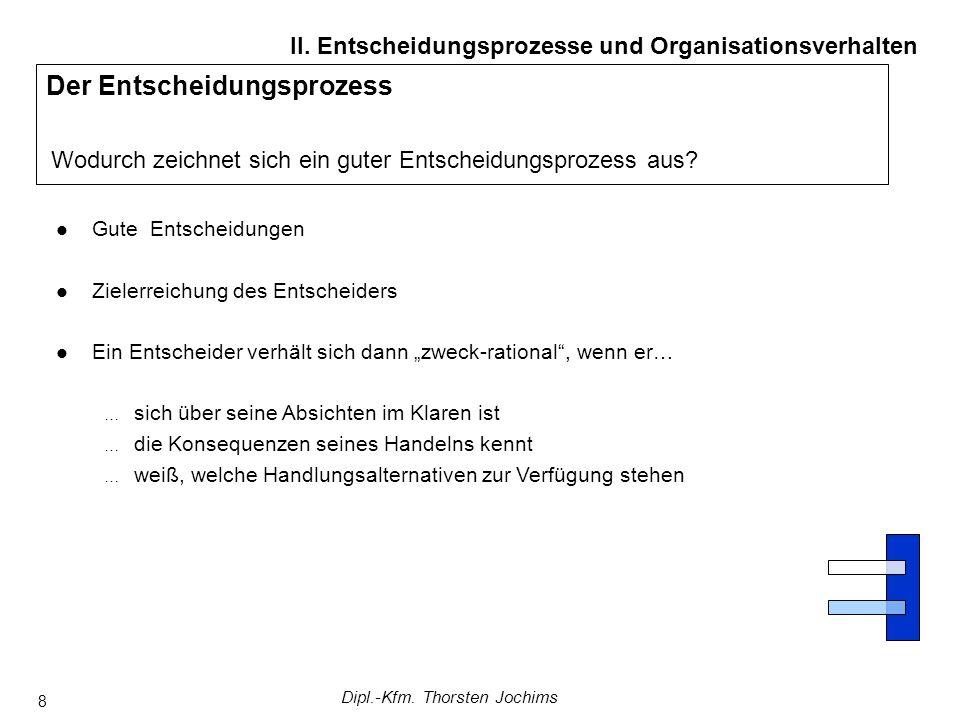 Dipl.-Kfm. Thorsten Jochims 8 Der Entscheidungsprozess Wodurch zeichnet sich ein guter Entscheidungsprozess aus? II. Entscheidungsprozesse und Organis