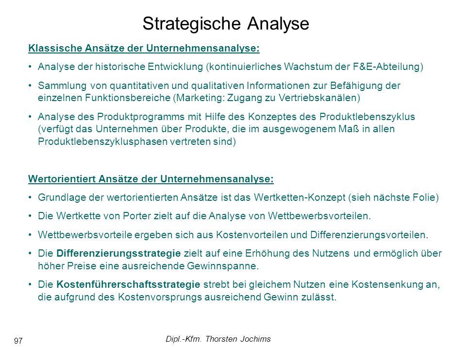Dipl.-Kfm. Thorsten Jochims 97 Klassische Ansätze der Unternehmensanalyse: Analyse der historische Entwicklung (kontinuierliches Wachstum der F&E-Abte