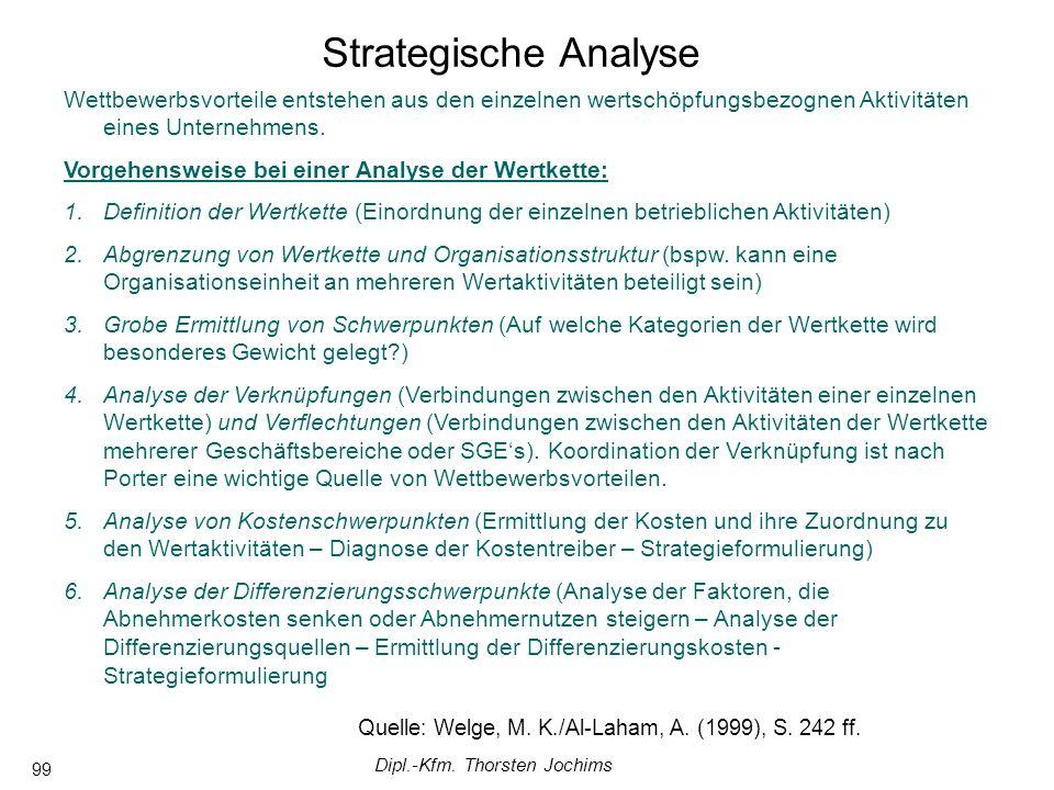 Dipl.-Kfm. Thorsten Jochims 99 Wettbewerbsvorteile entstehen aus den einzelnen wertschöpfungsbezognen Aktivitäten eines Unternehmens. Vorgehensweise b
