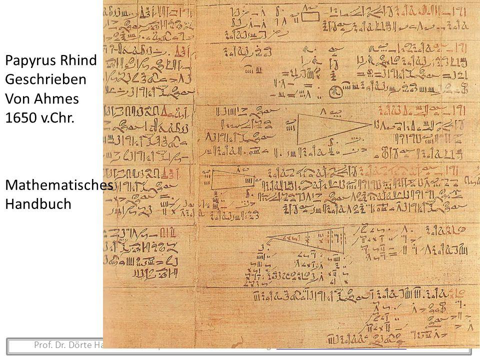 Prof. Dr. Dörte Haftendorn Leuphana Universität Lüneburg www.mathematik-verstehen.de Folie 10www.mathematik-verstehen.de Papyrus Rhind Geschrieben Von