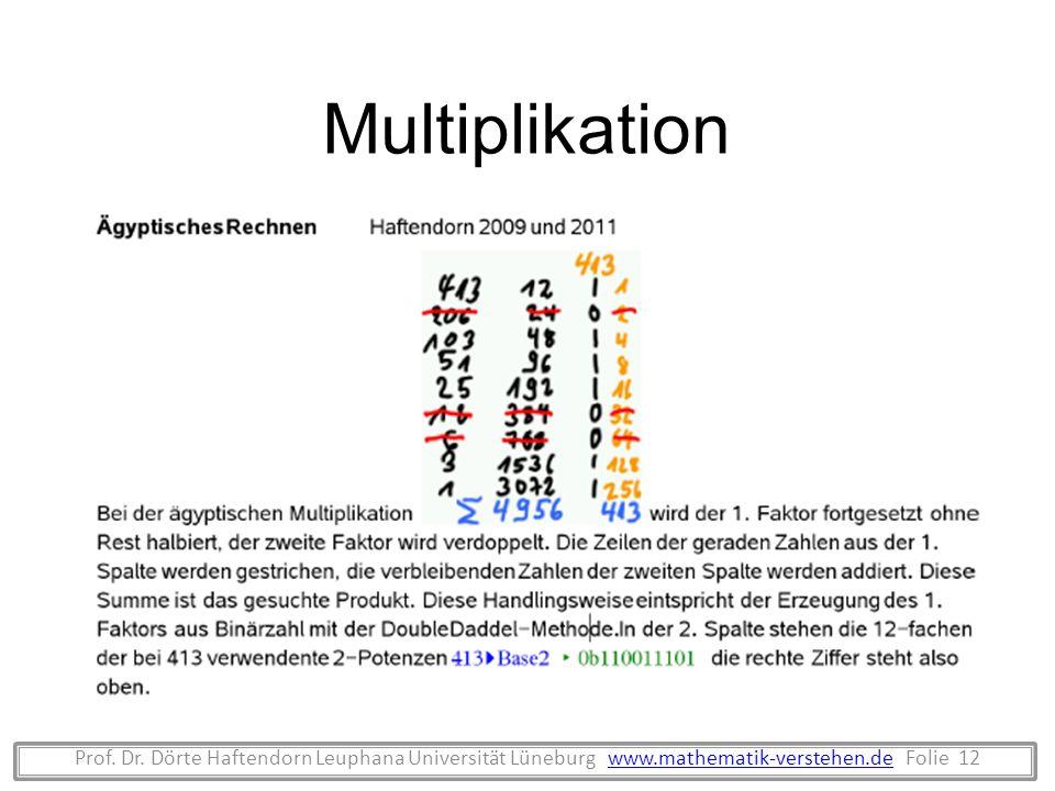 Prof. Dr. Dörte Haftendorn Leuphana Universität Lüneburg www.mathematik-verstehen.de Folie 12www.mathematik-verstehen.de Multiplikation