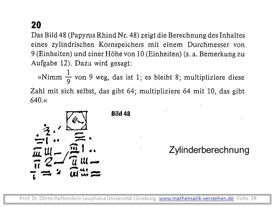 Prof. Dr. Dörte Haftendorn Leuphana Universität Lüneburg www.mathematik-verstehen.de Folie 18www.mathematik-verstehen.de Zylinderberechnung