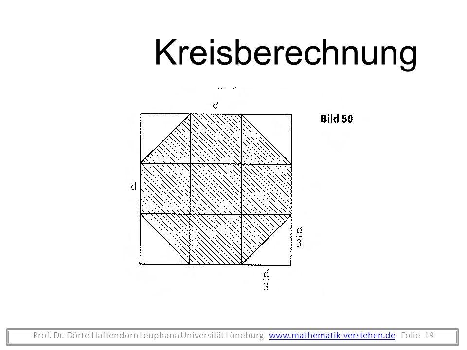 Prof. Dr. Dörte Haftendorn Leuphana Universität Lüneburg www.mathematik-verstehen.de Folie 19www.mathematik-verstehen.de Kreisberechnung