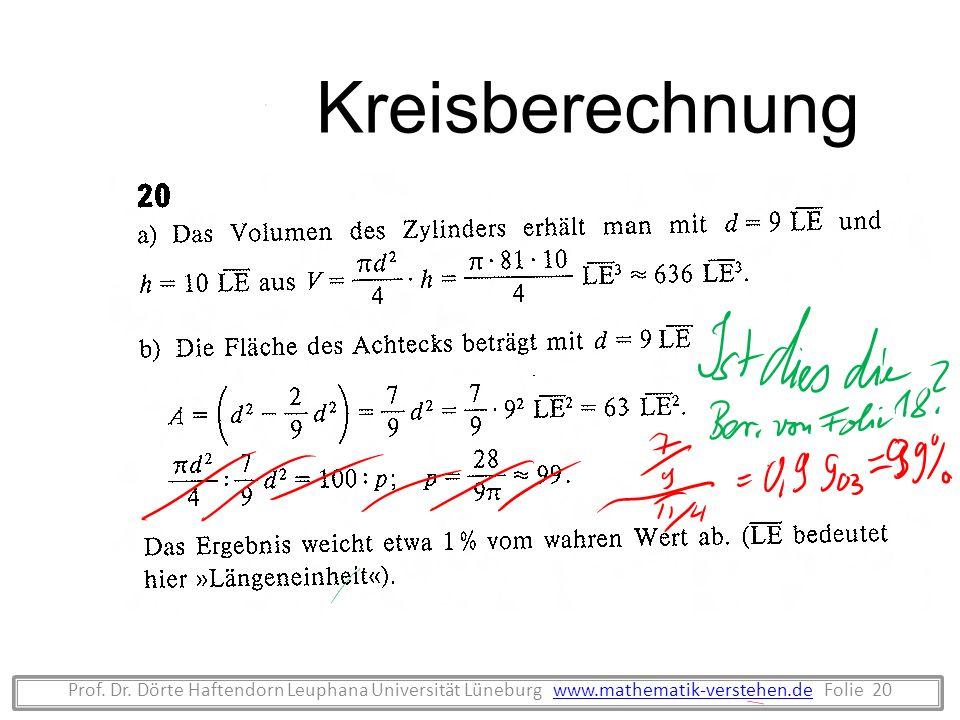 Prof. Dr. Dörte Haftendorn Leuphana Universität Lüneburg www.mathematik-verstehen.de Folie 20www.mathematik-verstehen.de Kreisberechnung