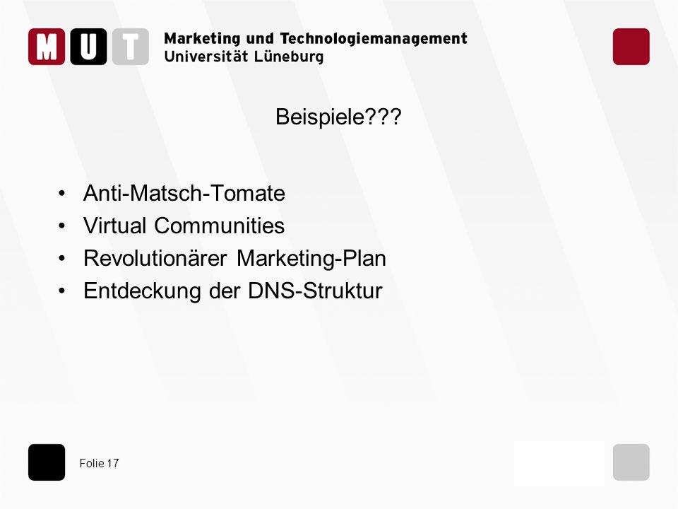 Folie 17 Beispiele??? Anti-Matsch-Tomate Virtual Communities Revolutionärer Marketing-Plan Entdeckung der DNS-Struktur