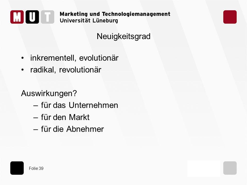 Folie 39 Neuigkeitsgrad inkrementell, evolutionär radikal, revolutionär Auswirkungen? –für das Unternehmen –für den Markt –für die Abnehmer