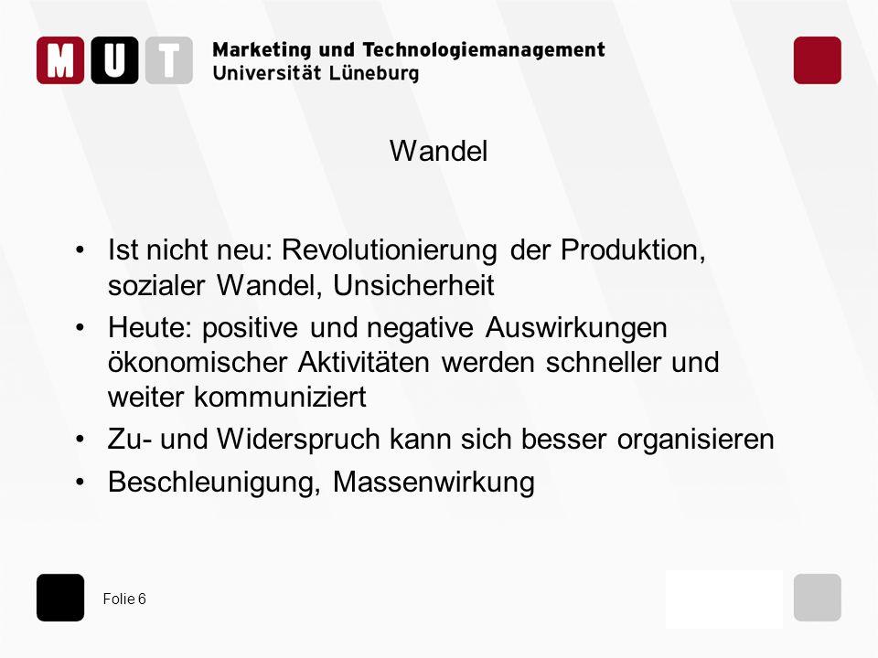 Folie 6 Wandel Ist nicht neu: Revolutionierung der Produktion, sozialer Wandel, Unsicherheit Heute: positive und negative Auswirkungen ökonomischer Ak