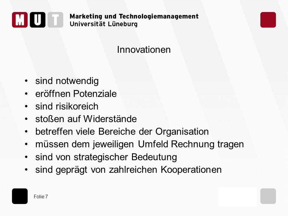 Folie 7 Innovationen sind notwendig eröffnen Potenziale sind risikoreich stoßen auf Widerstände betreffen viele Bereiche der Organisation müssen dem j