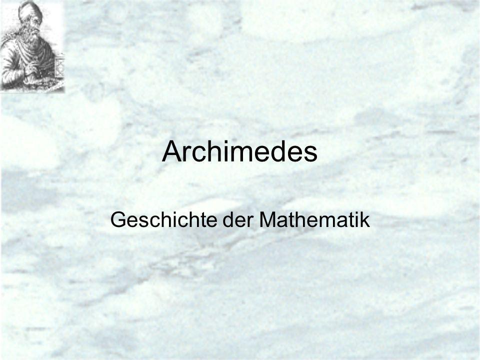 Archimedes Geschichte der Mathematik