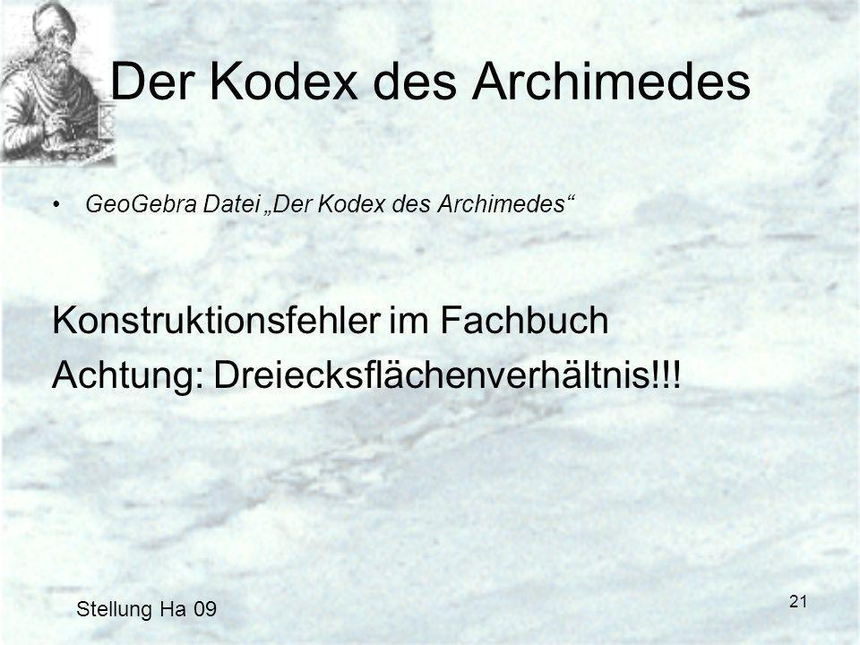 21 Der Kodex des Archimedes GeoGebra Datei Der Kodex des Archimedes Konstruktionsfehler im Fachbuch Achtung: Dreiecksflächenverhältnis!!! Stellung Ha