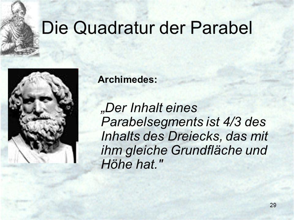 29 Die Quadratur der Parabel Archimedes: Der Inhalt eines Parabelsegments ist 4/3 des Inhalts des Dreiecks, das mit ihm gleiche Grundfläche und Höhe h