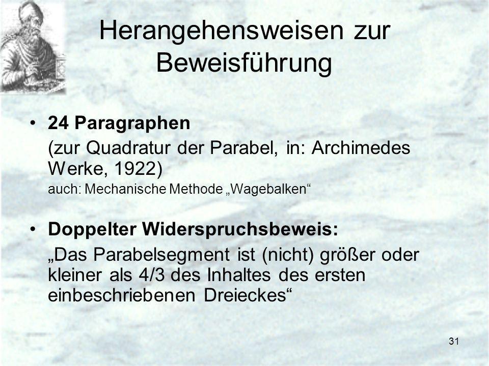 31 Herangehensweisen zur Beweisführung 24 Paragraphen (zur Quadratur der Parabel, in: Archimedes Werke, 1922) auch: Mechanische Methode Wagebalken Dop