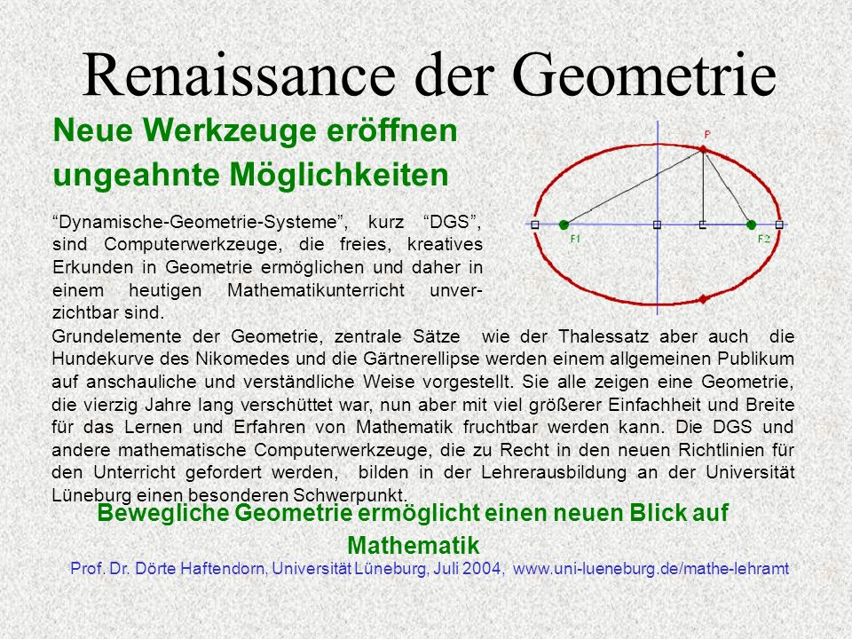 Renaissance der Geometrie Neue Werkzeuge eröffnen ungeahnte Möglichkeiten Prof.