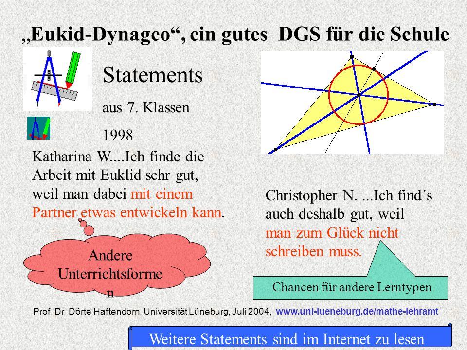 Eukid-Dynageo, ein gutes DGS für die Schule Prof. Dr. Dörte Haftendorn, Universität Lüneburg, Juli 2004, www.uni-lueneburg.de/mathe-lehramt Statements