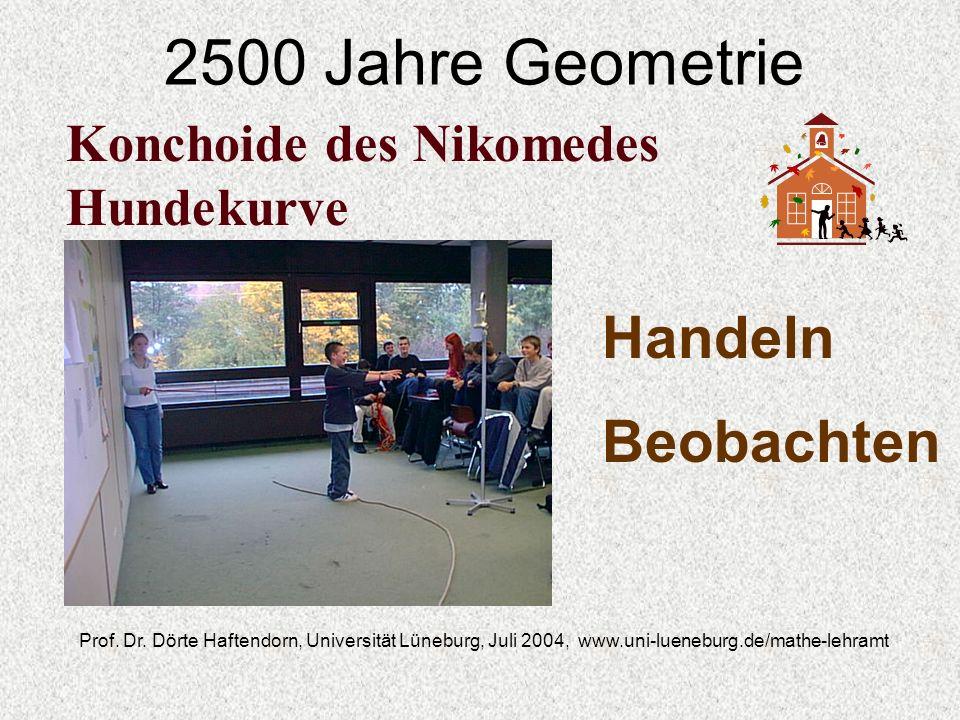 2500 Jahre Geometrie Prof. Dr. Dörte Haftendorn, Universität Lüneburg, Juli 2004, www.uni-lueneburg.de/mathe-lehramt Konchoide des Nikomedes Hundekurv