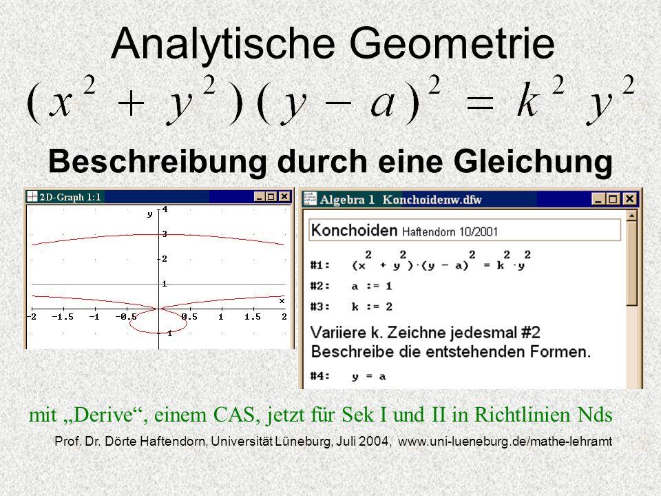 Analytische Geometrie Prof. Dr. Dörte Haftendorn, Universität Lüneburg, Juli 2004, www.uni-lueneburg.de/mathe-lehramt Beschreibung durch eine Gleichun