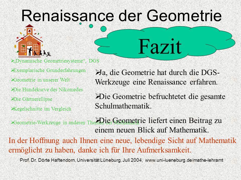 Renaissance der Geometrie Dynamische Geometriesysteme, DGS Exemplarische Grunderfahrungen Geometrie in unserer Welt Die Hundekurve des Nikomedes Die G