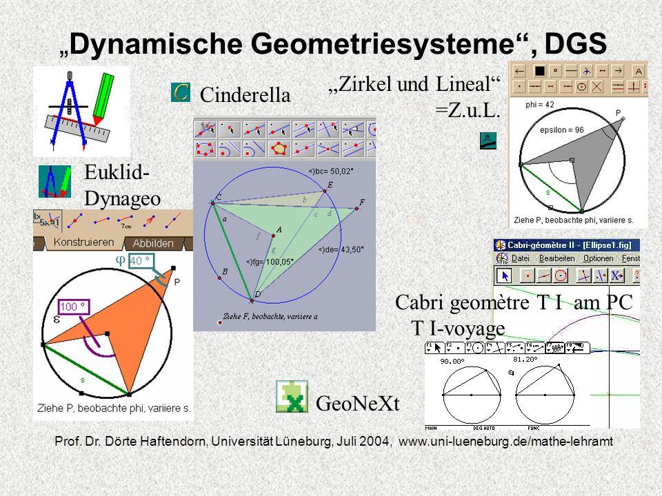 Dynamische Geometriesysteme, DGS Prof. Dr. Dörte Haftendorn, Universität Lüneburg, Juli 2004, www.uni-lueneburg.de/mathe-lehramt Euklid- Dynageo Cinde