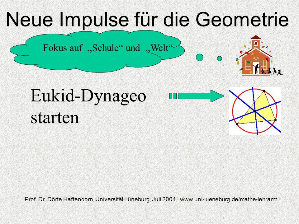Neue Impulse für die Geometrie Fokus auf Schule und Welt Prof. Dr. Dörte Haftendorn, Universität Lüneburg, Juli 2004, www.uni-lueneburg.de/mathe-lehra