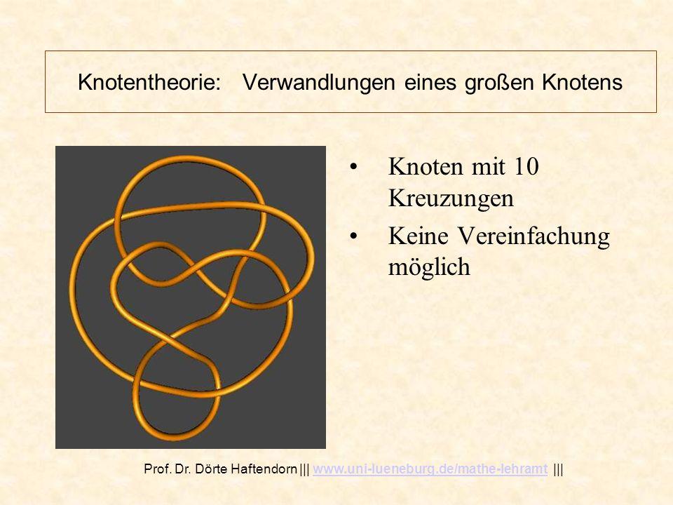 Knotentheorie: Verwandlungen eines großen Knotens Derselbe Knoten, im Raum gedreht Knoten mit 10 Kreuzungen Keine Vereinfachung möglich Prof.