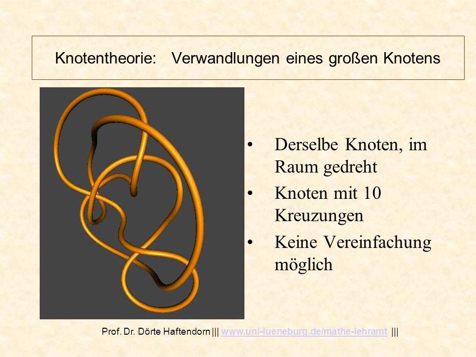 Knotentheorie: Verwandlungen eines großen Knotens Derselbe Knoten, im Raum gedreht Jetzt sind es viel mehr als 10 Kreuzungen Durch Bewegungen kann man die Zahl der Kreuzungen reduzieren.