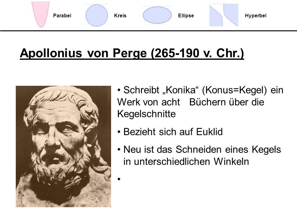 EllipseHyperbelParabelKreis Schreibt Konika (Konus=Kegel) ein Werk von acht Büchern über die Kegelschnitte Bezieht sich auf Euklid Neu ist das Schneid