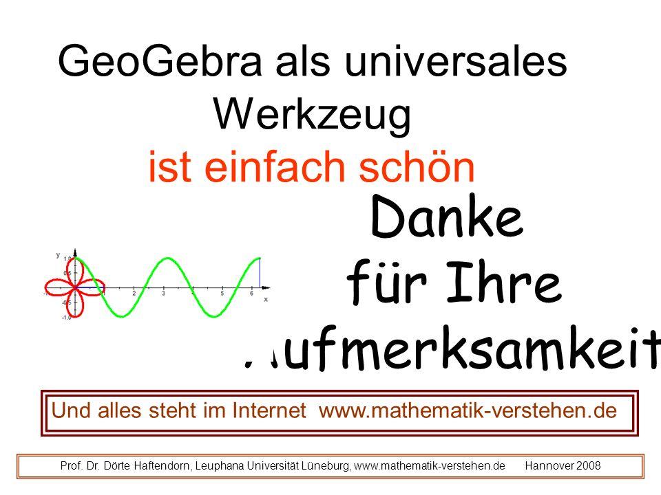 Danke für Ihre Aufmerksamkeit Und alles steht im Internet www.mathematik-verstehen.de Prof.