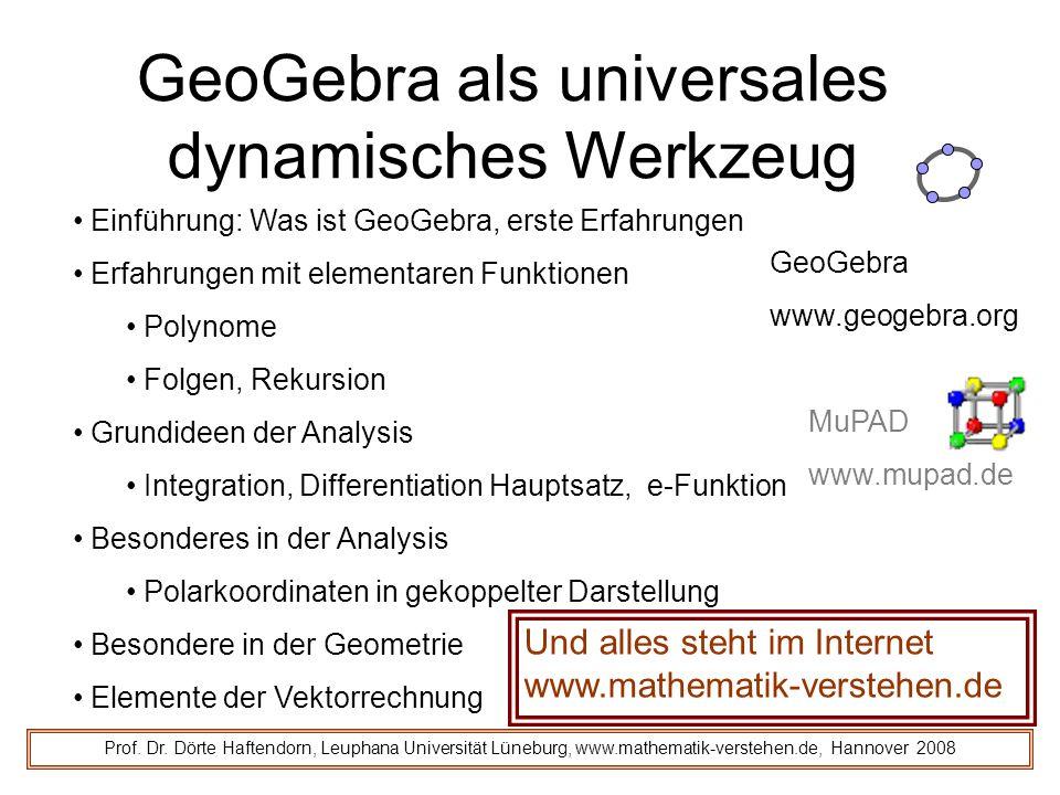 Und alles steht im Internet www.mathematik-verstehen.de GeoGebra als universales dynamisches Werkzeug Prof.