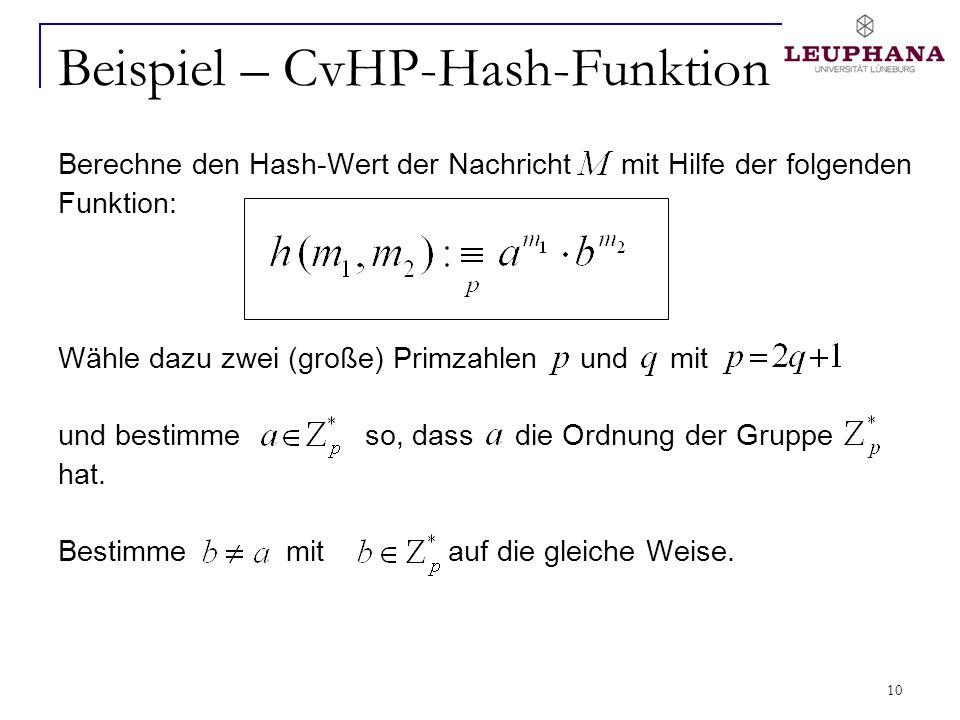 10 Beispiel – CvHP-Hash-Funktion Berechne den Hash-Wert der Nachricht mit Hilfe der folgenden Funktion: Wähle dazu zwei (große) Primzahlen und mit und