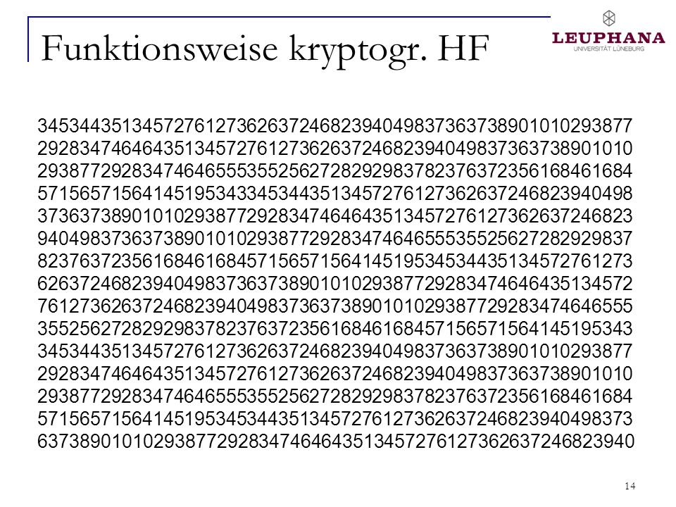 14 Funktionsweise kryptogr. HF 345344351345727612736263724682394049837363738901010293877 292834746464351345727612736263724682394049837363738901010 293