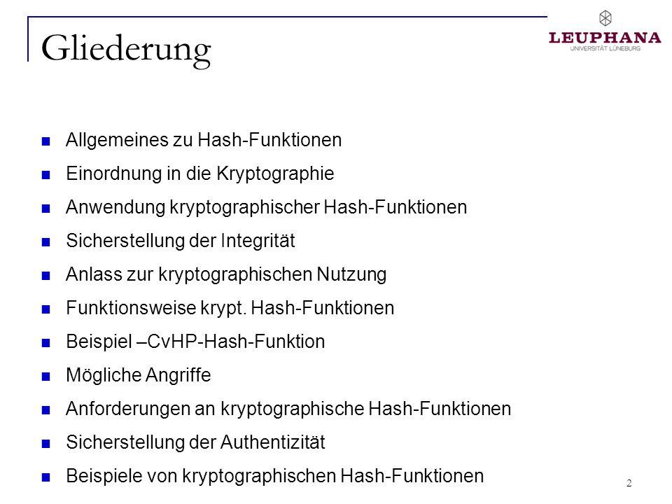 3 Allgemeines zu Hash-Funktionen Von to hash (engl.