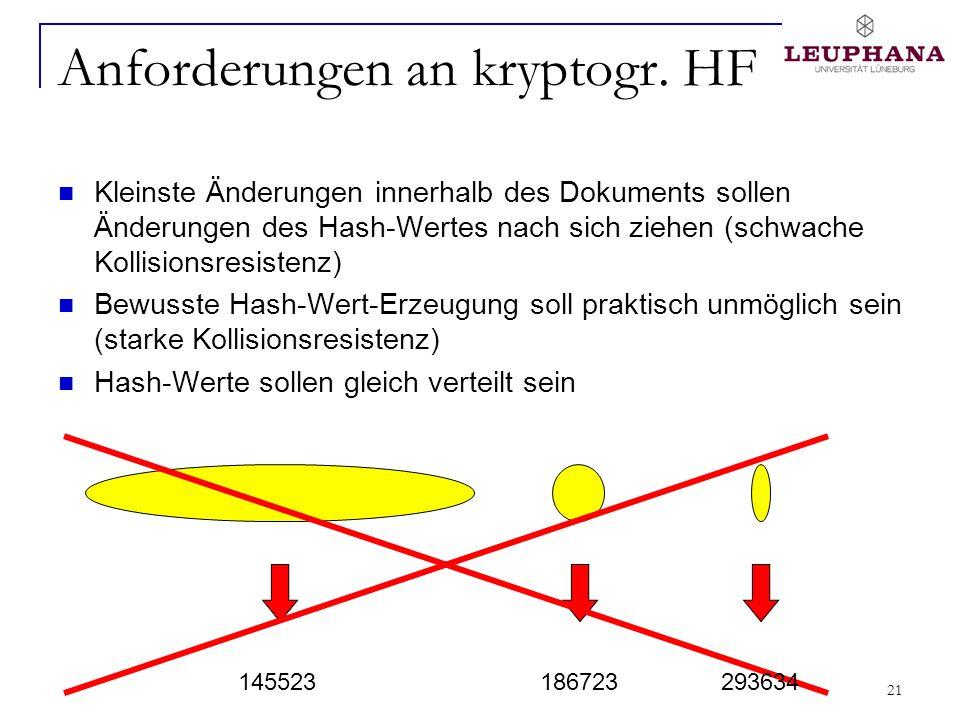 21 Anforderungen an kryptogr. HF Kleinste Änderungen innerhalb des Dokuments sollen Änderungen des Hash-Wertes nach sich ziehen (schwache Kollisionsre